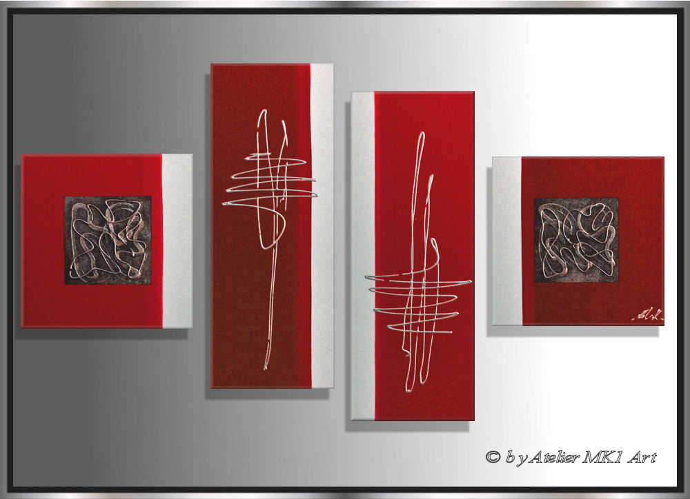 mk1 art bild leinwand abstrakt gem lde kunst malerei acryl bilder rot acrylbild ebay. Black Bedroom Furniture Sets. Home Design Ideas